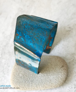 Rustic copper blue patina cuff