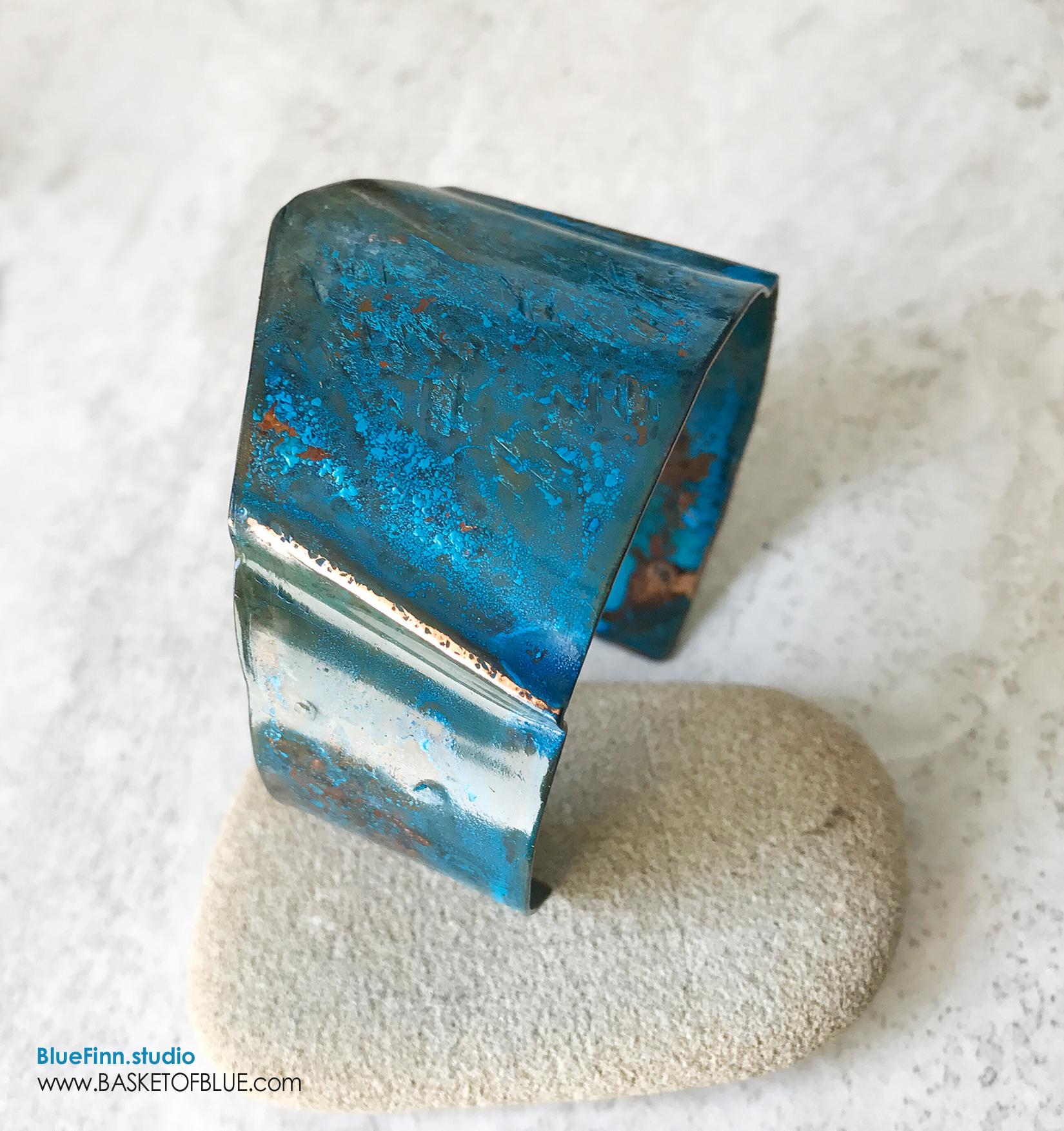 Rustic copper blue patina cuff