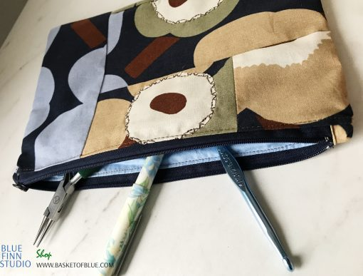 Marimekko Blue Poppy Pouch Pencil Make up Bag