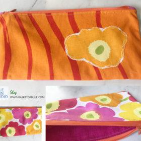 Marimekko Poppy fabric zipper pouch patchwork