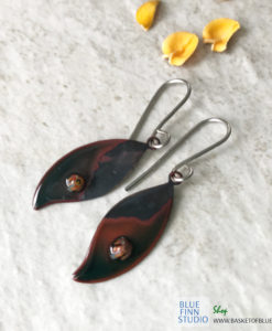 black enamel leaf earrings