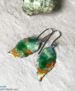 Colorful Enamel Fall Leaf Earrings