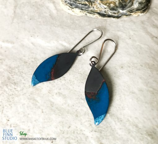 small blue enamel leaf earrings