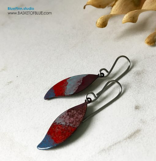 Red Blue Leaf Earrings