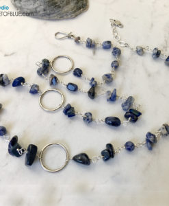 Long Sodalite Pewter Necklace
