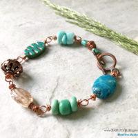 Turquoise bead copper bracelet