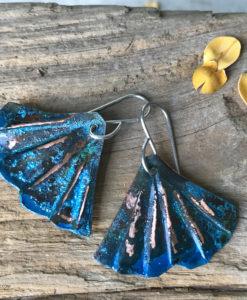 mermaid tail blue patina earrings