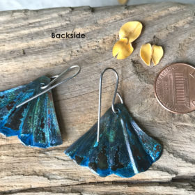 mermaid tail blue patina earrings