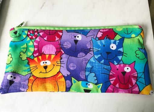 colorful cat faces zip pouch