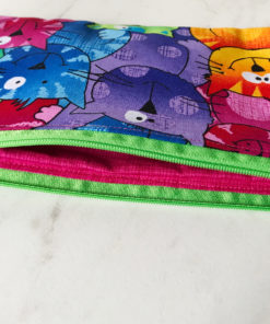 colorful cat faces zip pouch