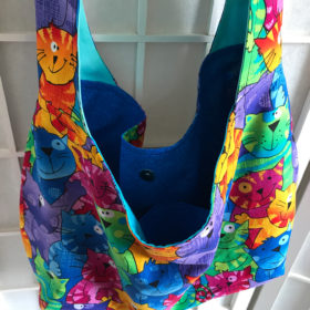 colorful crazy cat bag hobo