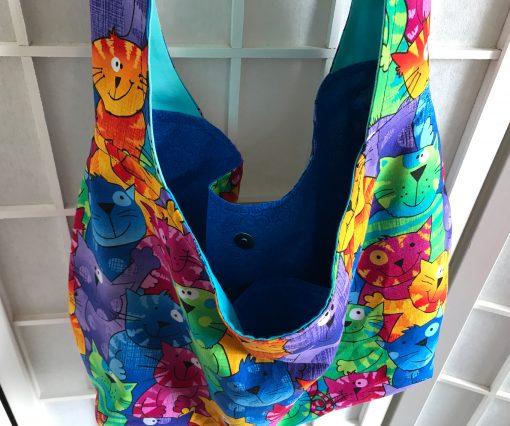 colorful crazy cat bag hobo