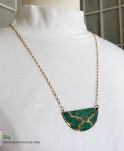 Copper Verdigris Half Circle Patina Necklace