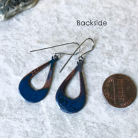 Blue Open Teardrop Earrings Enamel and Fire patina