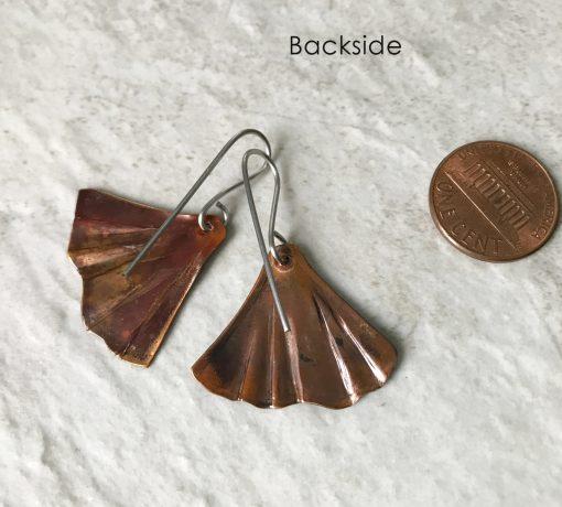 ginkgo leaf mermaid tail earrings flamed copper