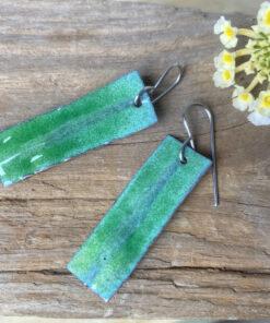 Green rectangle enamel earrings fold formed copper