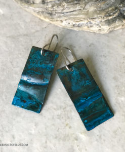 blue patina earrings rustic rectangle