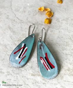 Blue Teardrop Oval Mixed Color Earrings