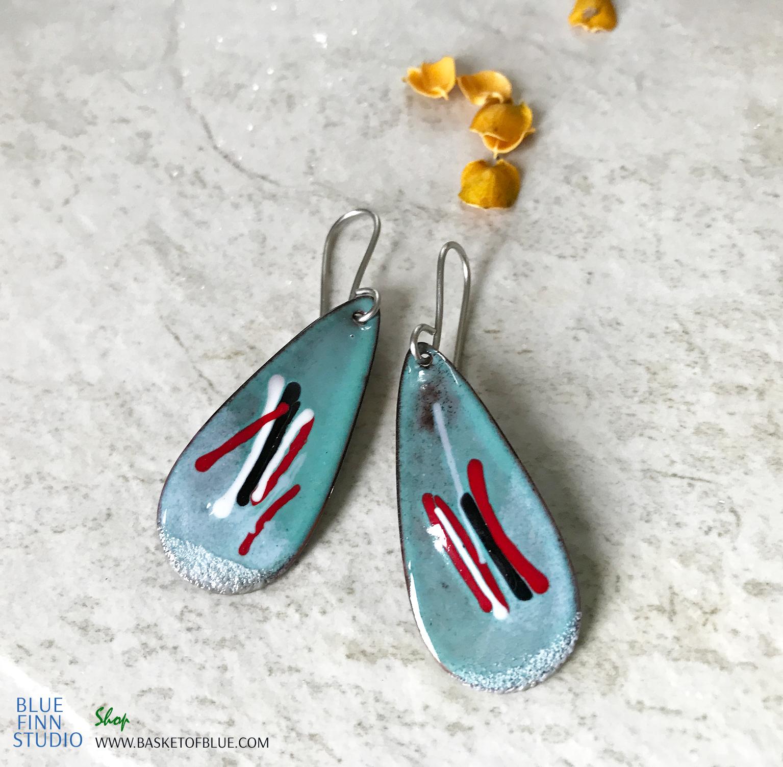 Blue Teardrop Oval Mixed Color Earrings