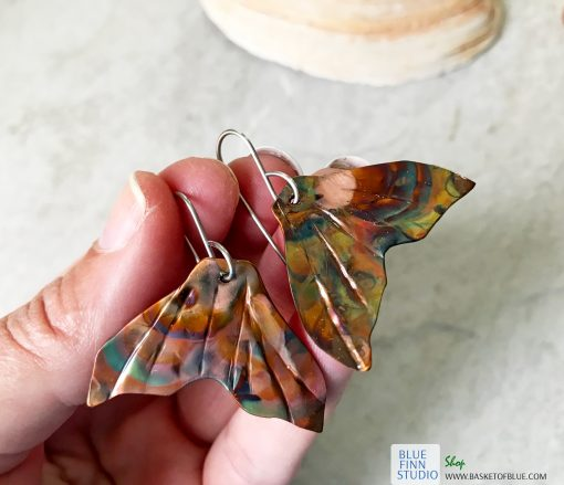 mermaid whale tail flame painted copper earrings