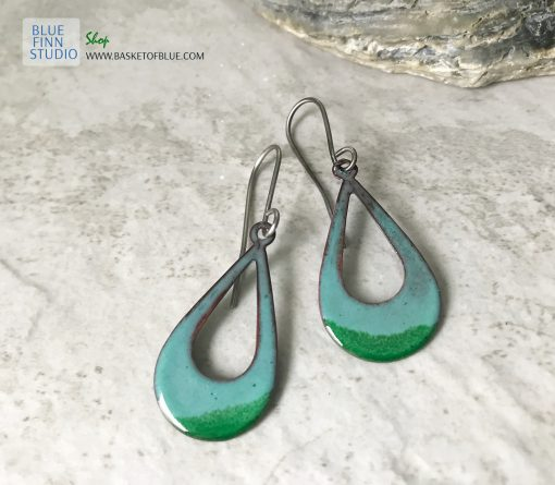 green open hoop oval earrings
