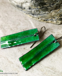 Green Fold Formed Enamel Earrings