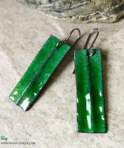 Green Fold Formed Enamel Earrings