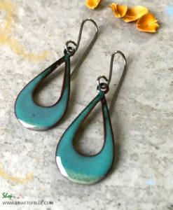 Green Open Teardrop Hoop Earrings