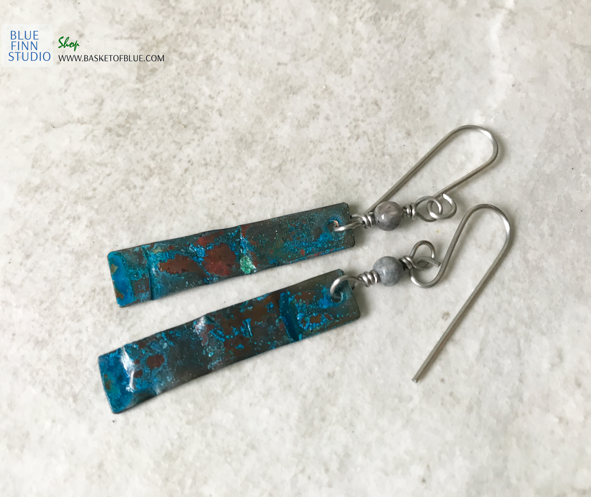 blue copper patina strip earrings with dumortierite