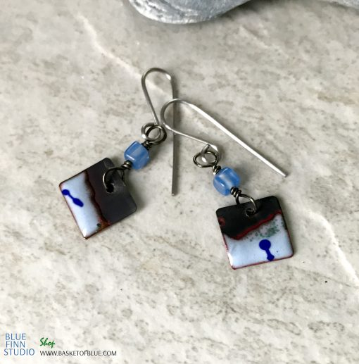 Blue Enamel Small Bead Dangle Earrings