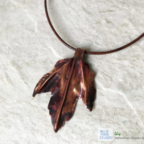 copper leaf necklace handcrafted torch patina