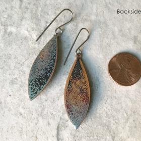blue green oval murrini glass dangle earrings