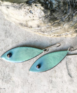 blue green oval murrini glass dangle earrings