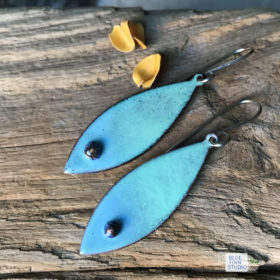blue green oval murrini glass dangle enamel earrings