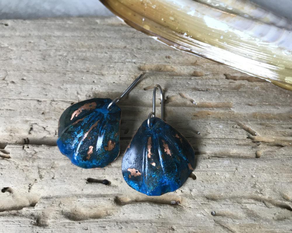 blue patina shell earrings
