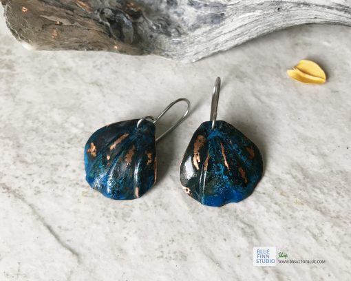 blue patina shell earrings