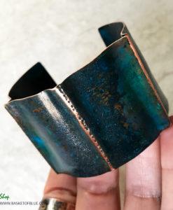 blue patina rustic copper cuff