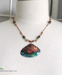 rustic beach shell necklace enameled copper
