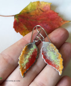 Enamel art leaf earrings