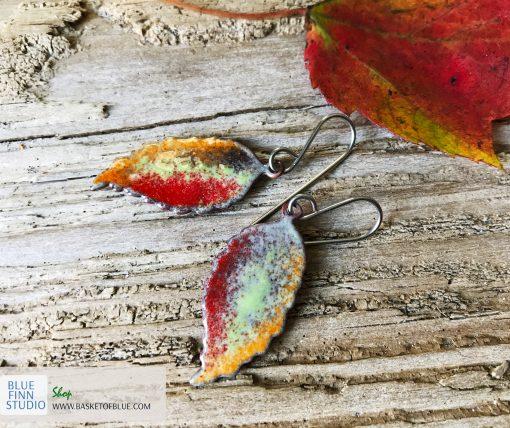 Enamel art leaf earrings
