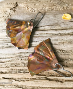 Ginkgo Leaf Mermaid Tail Earrings Flamed Copper