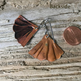 Mermaid tail earrings Flame painted copper