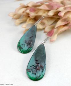 green oval enamel earrings