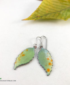 Colorful Nature Leaf earrings Enameled Copper