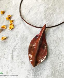 Rustic Hammered Copper Leaf Necklace