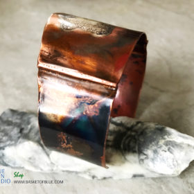 mixed metal copper and silver cuff bracelet