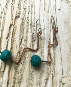 Copper lava bead twist earrings