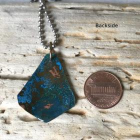 blue copper patina triangle necklace