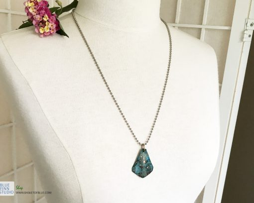 blue copper patina triangle necklace