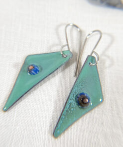 seafoam green enameled copper geometric triangle earrings with murrini glass